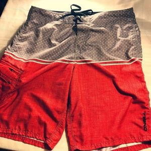 Men's Red and Grey O'Neill Board Shorts Size 34